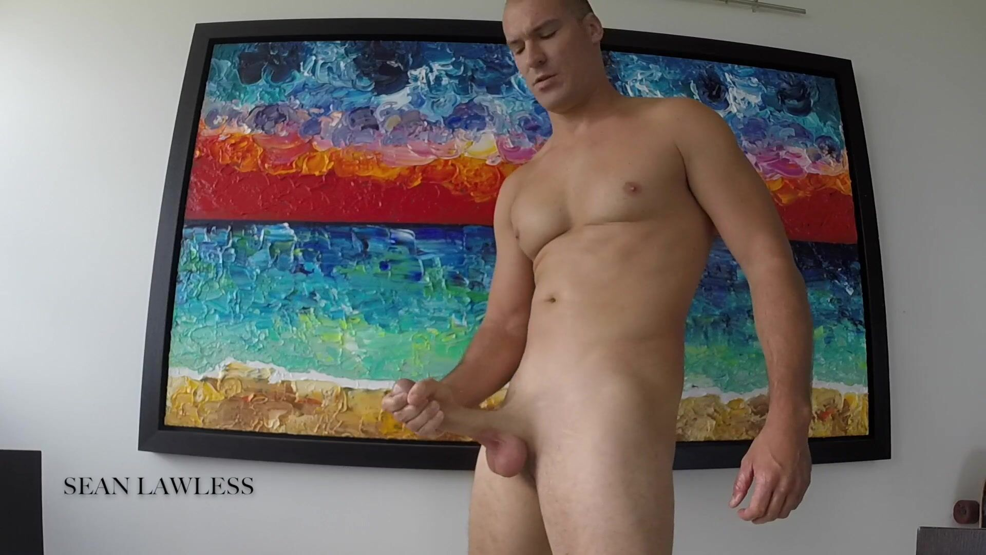 Hot Jock Jacks his HUGE DICK with Coconut Oil -